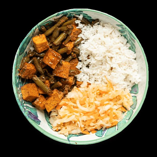 słodko-kwaśne tofu z ryżem i surówką